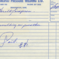 E. Kjeldsli Pressure Welding Ltd. [business receipt]