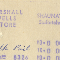 Marshall Wells Store Shaunavon, Sask. [business receipts]