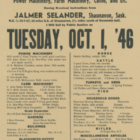 Cash Auction Sale Tuesday, Oct. 1, '46 poster