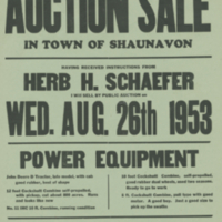 Closing Out Auction Sale Wed. Aug. 26th 1953