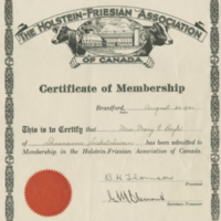 Holstein-Friesen Association of Canada Certificate of Membership