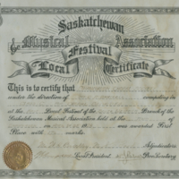 Saskatchewan Musical Association Local Festival Certificate - 1928
