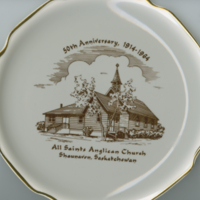 """50th Anniversary 1914-1964 - All Saints Anglican Church, Shaunavon, Saskatchewan"" white china souvenir plate"