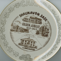 """Shaunavon, Sask. Golden Jubilee 1913-1963"" white china souvenir plate"