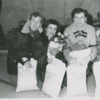 Winners of 1952 Ladies Bonspiel 5 lbs of flour - Blanche Bulow, Mae Gagnon, Anne Arnetz, Mary G.