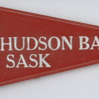 Hudson Bay Sask. red plastic flag