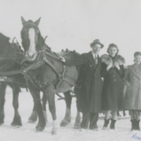 Second from right Laura Anderson (Robinson) - note how dressed up they are to travel in a buggy