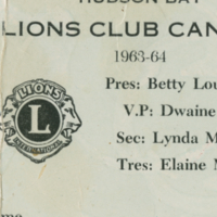 Hudson Bay Lions Club Canteen card