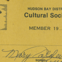 Hudson Bay District Cultural Society Member card