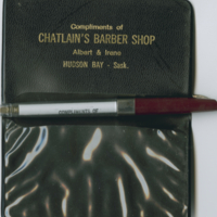 Chatlain's Barber Shop pen and card holder