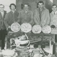 Bob Ragan, Bobby Bor, Walter Mantyka, Jim Morrison - all Forest Products Week Power Saw Logging Champion 1970