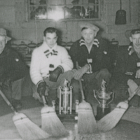 Winners of the Grand Aggregate 1953 Hudson Bay Curling Rink - Mr. James Robison, Mr. Allan Anderson, Mr. England, Aubrey Marcott