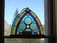Portion of stained glass window from old Methodist Church built in 1898