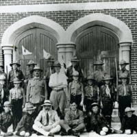 [Boy Scouts in front of United Church - Indian Head]