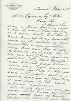 Letter from J.W. Beatty to A.W. Cameron, May 22