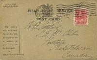 Field Service Postcard from Private Spindler, December 23, 1916