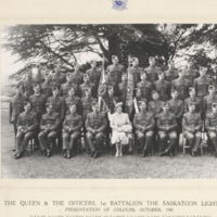 H.M. The Queen & The Officers, 1st Battalion The Saskatoon Light Infantry Presentation of Colours, October, 1941