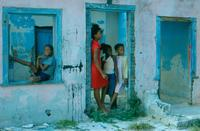 Kids posing in abandoned house