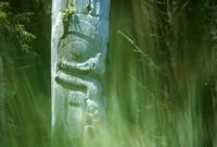 Totem pole with out-of-focus green grass
