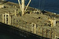 Scenes of timber on barge