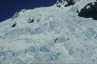Helicopter flight over glaciers