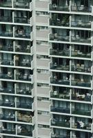 Laundry on the balconies of highrise apartment building