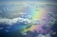 Clouds and rainbow, aerial view, Pacific ocean near Hawaii