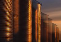 Sunset on steel bins