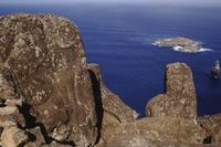 Carved cliffs near ocean, Easter Island