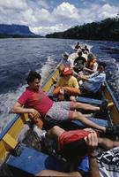 People in boat near Angel Falls