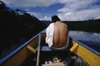 Back of man in boat, Angel Falls