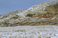 Colourful rock face with snow en route to Sturgis