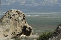 Sea monster' rock and views of valley
