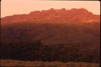 Mount Kenya and moon at sunrise