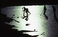 Hockey game on pond ice