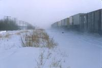 Train, east of Clarence Avenue, in winter