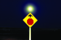 Stop sign and moon