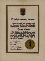 Ernfold Community Citizens Certificate of Gratitude