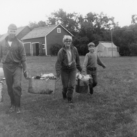 Adrian, Phyllis and Val carrying butchered chickens