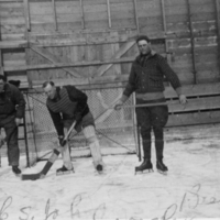 Three hockey players posing