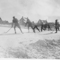Action shot of a hockey game