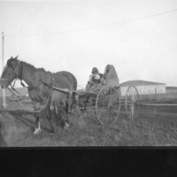 Aboriginal people in a horse-drawn wagon