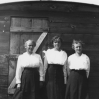 Three women standing in front of a buidling with a car roof