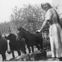 Young woman pumping water for the horses