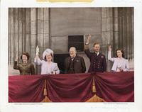 [Winston Churchill, King George VI, Queen Elizabeth, Princess Elizabeth and Margaret on balcony of Buckingham Palace]