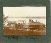 """""""The Ferry at Battleford"""" - horse drawn wagon disembarking"""
