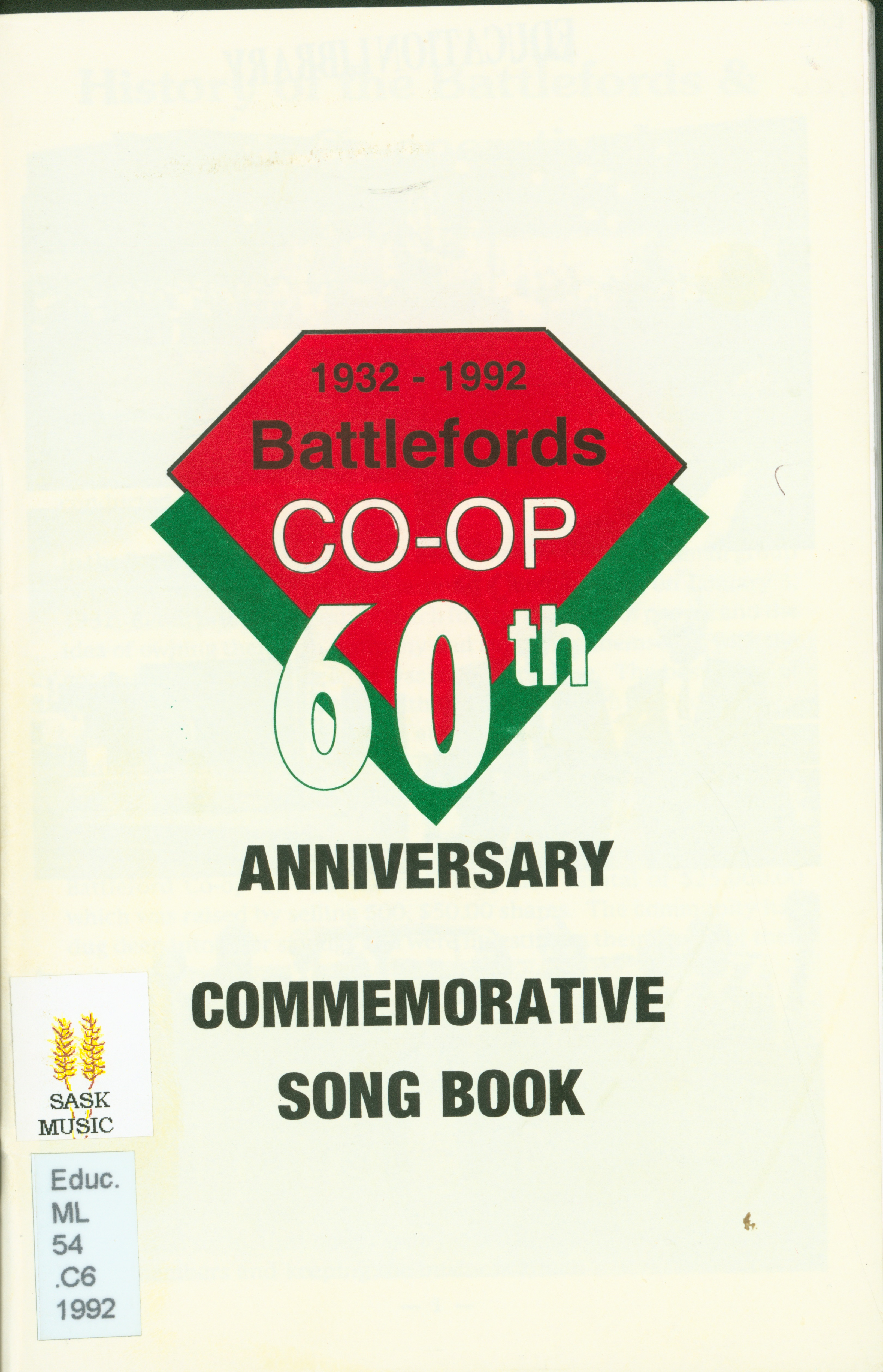 Battleford Co-Op 60th Anniversary Commemorative Song Book