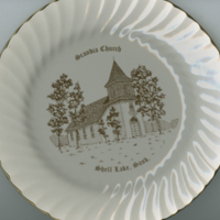 """Scandia Church Shell Lake, Sask."" white china souvenir plate"
