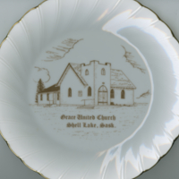 """Grace United Church"" white china souvenir plate"