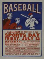 Baseball - Calder and District Board of Trade Sports Day Friday, July 12 poster